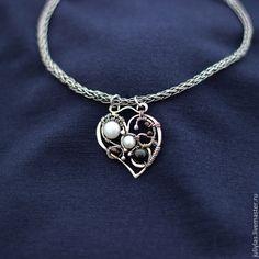 """Серебряный кулон """"Сердце"""" с жемчугом - wire wrap,авторская работа,оригинальное украшение"""