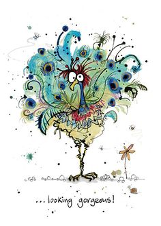BugArt Animal Splats ~ Peacock. ANIMAL SPLATS Original drawings by Marjorie Dumortier. Card designs by Jane Crowther.