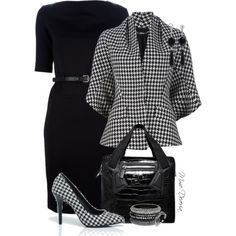 """Houndstooth combo"" by madamedeveria on Polyvore"