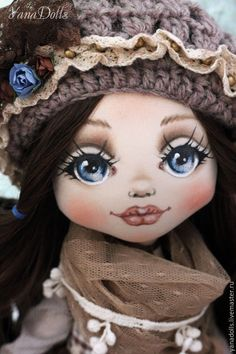 Купить Vanessa - коричневый, кукла ручной работы, кукла, кукла в подарок, кукла интерьерная Doll Face Paint, Doll Painting, Doll Eyes, Sewing Dolls, Doll Tutorial, Doll Repaint, Doll Maker, Waldorf Dolls, Soft Dolls