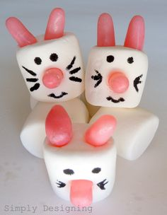 cute bunny craft = marshmallows, mike and ikes, black edible markers and voila - I'd put them on sticks