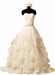 GEORGE BRIDE Formal Strapless Princeless Tiered Organza Court Train Bridal Dress - $168 (Also available in plus size)