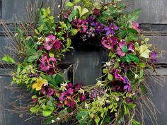 Summer Door  Wreath  Purple Pansy Floral  Wreath  by Designawreath, $54.95