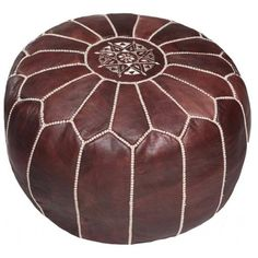 How would you use this #stylish brown leather Moroccan pouf in your #homedecor?  While you decide; buy it here!