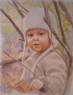 """watercolor portrait 14x18"""" Sarah Pogue"""