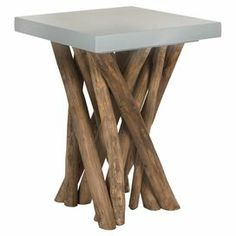 """Side table with a grey square top and teak branch legs.  Product: Side tableConstruction Material: Teak and MDFColor: Grey and naturalDimensions: 20"""" H x 15"""" W x 15"""" D"""