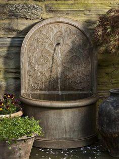 "Campania International Corsini Wall Fountain Product Code: FT-171 Dimensions: 26.5"" x 16"" x 40.5"" Weight: 291 lbs."