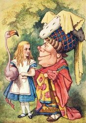 "Alice's Adventures in Wonderland - John Tenniel ""The Mock-Turtle's Story"" - Alice holding the flamingo mallet and talking to the ugly Duchess"