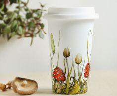 Illustrated White Ceramic Travel Mug Double Walled by yevgenia, $65.00