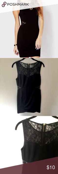 Forever 21 Little Black Dress! Super adorable little black dress with lace cut at the sides and top. Form fitting and very flattering! Forever 21 Dresses
