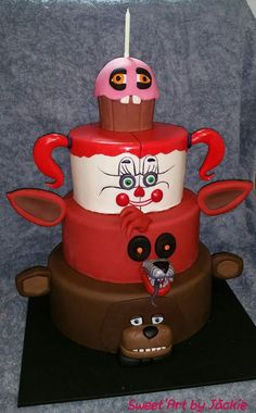 Five Nights at Freddy's, 4 tier birthday cake. - Credit: Sweet'Art by Jackie
