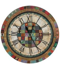"beautiful clock! This beautiful, folk-art clock reminds us that life is more than just the passing of time. Dozens of small squares, illustrated with colorful images/patterns, fit together in a crazy quilt pattern, suggesting the richly varied beauty of our life experiences. These illustrated ""moments"" are bound together by a circle of warm wishes/prayers for ourselves/our families. The design is engraved into birch or poplar wood & hand-painted in vibrant colors.  36"" across"