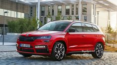 The 2020 Skoda Karoq RS will get a notably more aggressive exterior design than the regular model. We can expect plenty of unique and new features. Upcoming Cars, Vw Group, Volkswagen Group, The Cloisters, Gasoline Engine, City Car, Latest Cars, Concept Cars, Sport Cars