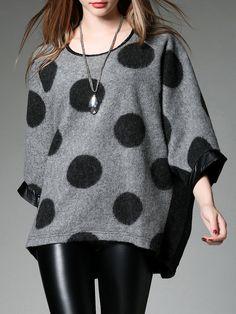 #AdoreWe #StyleWe Tops - VEINFUNS Gray 3/4 Sleeve Paneled Tunic - AdoreWe.net