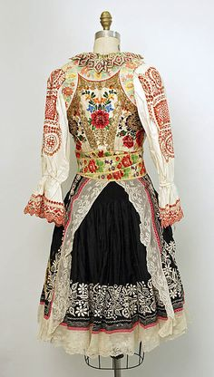 Slovak Wedding Ensemble Traditional Slovak folk costume - century - Slovak ensemble (Metropolitan museum) - backside view Medium: (a, b, c, e, f) cotton; (d) silk from met museum Folk Fashion, Ethnic Fashion, Vintage Fashion, Nail Fashion, Traditional Fashion, Traditional Dresses, Historical Costume, Historical Clothing, Textiles