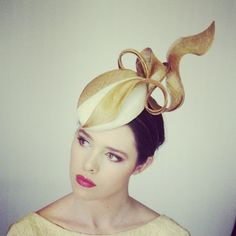 Two-tone beret (gold and cream)   Louise MacDonald, Melbourne   Fashion Millinery, Spring 2013