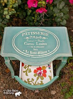 Teal Entry Table - So-Sweet French Bakery Table - Hand Painted in Aqua Haze & Vintage Paris Blue // SOLD on Etsy, $90.00