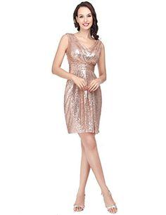 Clearbridal Women's Sequin Prom Dress Rose Gold Short Par…