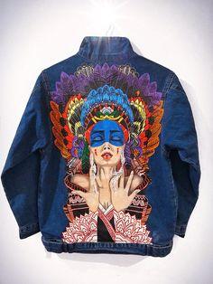 Hand painted denim jacket; Denim jacket with art; Gift; Custom Denim Jacket; Jacket with painting; Exclusive work; Art on denim