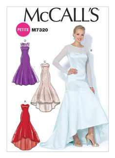 McCall's Patterns Misses'/Miss Petite Mermaid-Hem and High-Low Dresses, Size - meme coupon High Low Evening Dresses, Evening Dresses For Weddings, Sexy Wedding Dresses, Evening Gowns, Bride Dresses, Formal Dresses, Formal Dress Patterns, Evening Dress Patterns, Wedding Dress Patterns