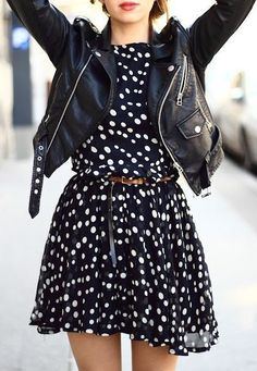 street style polka dot dress leather