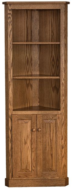 You'll save on every piece of furniture at Amish Outlet Store! We custom make every item, and you can get the Traditional Corner Bookcase w/Doors in Oak with any wood and stain.