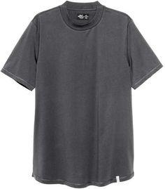 H&M - T-shirt with Ribbing - Dark gray - Men Mens Tee Shirts, David Beckham, Suits You, Nightwear, Trunks, Underwear, Shirt Dress, Shopping, Lounge