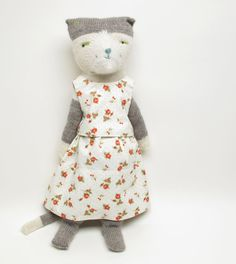 Helen Kitty a hand knit cat doll by WilleWorks on Etsy, $200.00