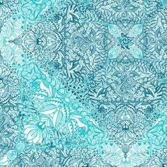 Super Detailed Diamond Doodle in Turquoise and Teal fabric by micklyn on Spoonflower - custom fabric
