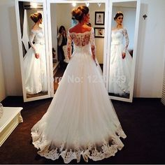Elegant Bateau Long Sleeve Sheer backless with Appliques/Lace Sash Bow A Line Long Wedding Dress 2014 Vestido $231.00