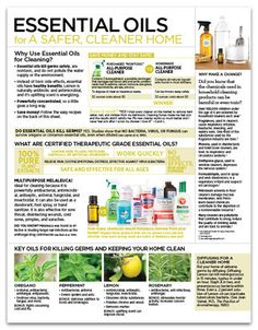 Essential Oils for a Safer, Cleaner Home Tear Pad - Have a safe, clean home with essential oils! Use this sheet as a class outline or a handout. Only at ShareOils.com / doTERRA compliant.
