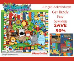 The animals of the jungle are on some pretty wild and crazy adventures in this kit! Get ready for summer photos of trips to the zoo with Jungle Adventures by #AmandaCreation.  #digitalscrapbooking #theStudio