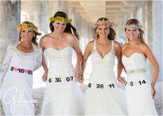 Mother & daughter bridal photo session, daughters, sisters, anniversary dates, wedding dress, portrait, huntington beach, pier, orange county, mom, generations, flower headbands, gilmorestudios.com
