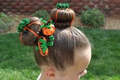 pumpkin hair ~ and 9 other cute halloween hairstyle ideas & photo instructions ~ www.untrainedhairmom.com