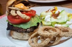 Portobello mushroom burgers with chipotle mayo and onion rings