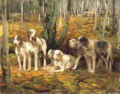 Alfred Wierusz-Kowalski 1849-1915 (Polish), Psy myśliwskie, oil on cardboard