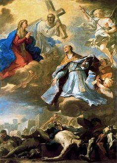 San Gennaro intercede con la Vergine, Cristo e di Dio Padre per fermare la peste del 1656' - di Luca Giordano (1634-1705, Italy)