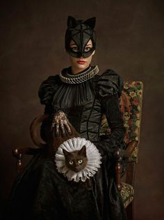 Flemish Portrait Style Catwoman by Sacha Goldberger