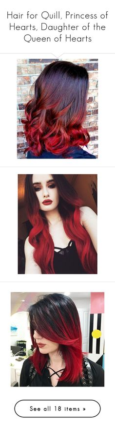 """""""Hair for Quill, Princess of Hearts, Daughter of the Queen of Hearts"""" by e-auradon ❤ liked on Polyvore featuring QueenOfHearts, Descendants, hair, hairstyles, hair red, red, beauty, hair styles, hairstyle and accessories"""