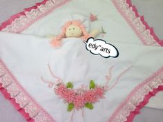 Manta de piquet bordada de fita de voal -rosa - VilaClub