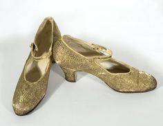 Gold formal evening shoes.
