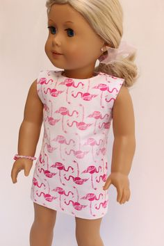 American Girl Doll Clothes: Flamingo sheath by LollyDollyDesigns American Girl Dress, American Girl Clothes, American Girls, Boy Doll, Girl Dolls, Jane Clothing, Ag Doll Clothes, Handmade Clothes, Gaia