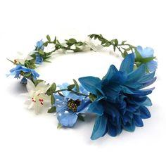 Headband couronne de fleurs. 4 fleurs montées sur une
