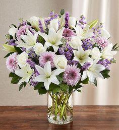 Flower Arrangements Delivery, Purple Flower Arrangements, Funeral Flower Arrangements, Funeral Flowers, Flower Centerpieces, Purple Centerpiece, 800 Flowers, Large Flowers, Pretty Flowers