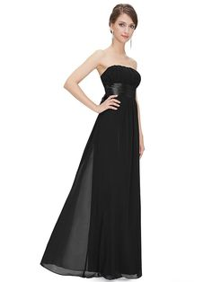 Simpledress Simple Strapless Empire Waist Bow Sash Show Toes Evening Dress US-2 Black -- Discover this special product, click the image : wedding dresses