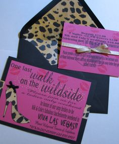 One last walk on the wild side Invitations (love the leopard lined envelopes) ~ Colies Custom Creation on Esty