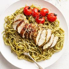 Basil Pesto Chicken Spaghetti is packed with flavour and comes together so quickly it's sure to become a week-night favourite!