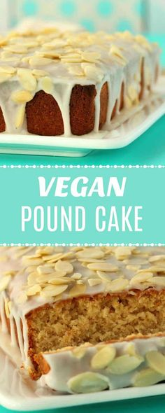 Vegan pound cake with an almond glaze. Moist, rich and dense (but not heavy) this pound cake is super simple and absolutely delicious. Vegan Treats, Vegan Foods, Vegan Dishes, Vegan Birthday Cake, Diy Birthday, Vegan Dessert Recipes, Desserts Diy, Cooking Recipes, Pound Cake Recipes