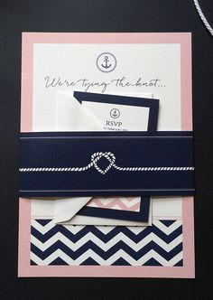 A lovely take on the nautical theme in blush pink & navy - a continuing trend for 2015 that has been popular in 2014. Comes with a crisp white envelope and printed onto super thick 350gsm card. Scroll down for more information and information on how to order.