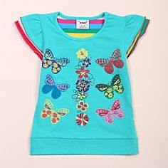 Summer Kids Girl Brand Clothes Butterfly Flower Printing and Sequin T-shirt For Baby Kids.